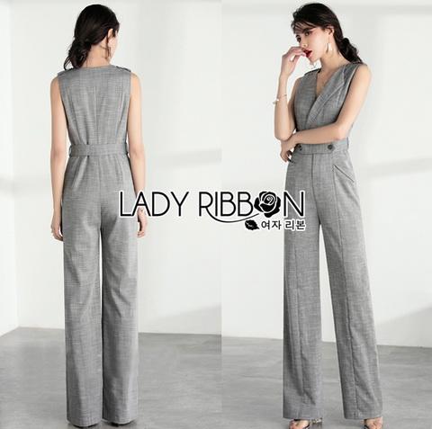 Lady Ribbon Grey Suit Jumpsuit จัมป์สูททรงสูทสีเทา