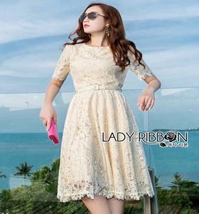 Lady Ribbon Nasha Sweet Classic White Lace Dress with Belt