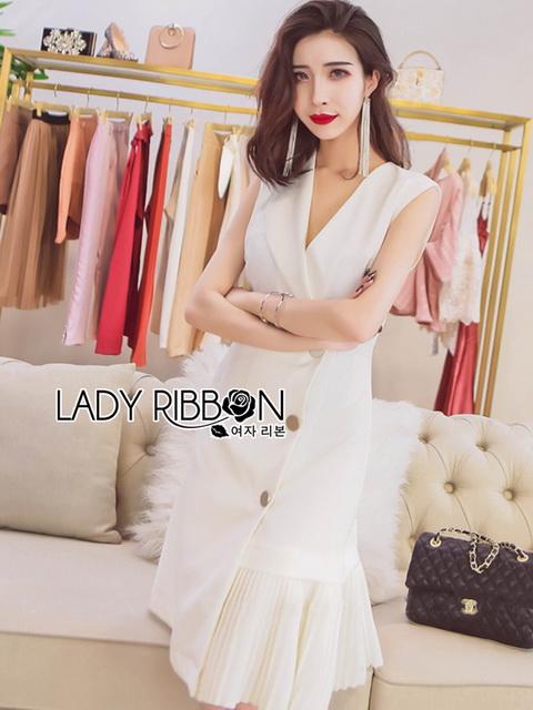 Lady Ribbon with Pleat Trim ขายส่งเดรสผ้าเครปสีขาว