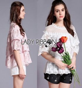 Lady Ribbon Leslie Sweet Vintage Layered Lace Blouse