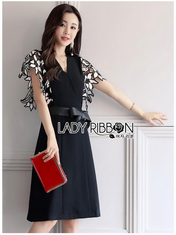 Leather Belt Lady Ribbon ขายเดรสผ้าเครปสีดำ