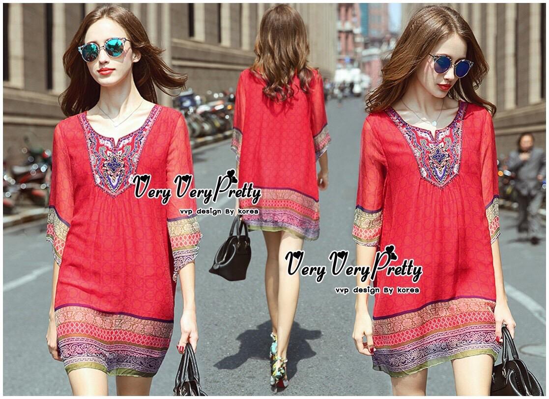Lady Ribbon Online เสื้อผ้าออนไลน์ ขายส่ง VP01110717 Bohemian Red-Chiffon Colorful beads Embroidery Blouse
