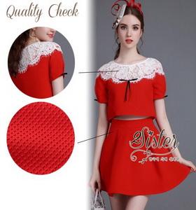 งานนำเข้าเกาหลี เซ็ตเสื้อ+กระโปรงสีแดง