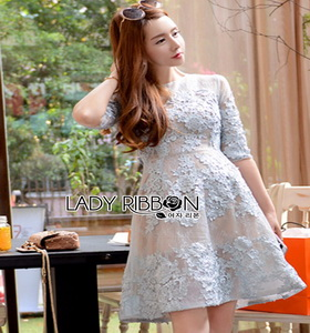 Lady Ribbon Rena Flower Blooming Pastel Lace Mini Dress
