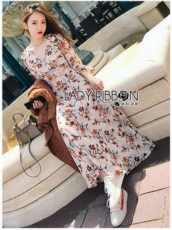Lady Anne Autumn Dress with Flower Belt