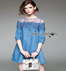 Denim and Lace Lady Ribbon Mini Dress ขายมินิเดรส