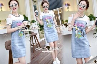 SS19010916 Seoul Secret Say's... Smurffy Chic Denim Dress Material : น่ารักๆ สดใสสไตล์คุณหนู