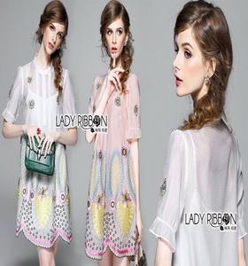 Lady Ribbon Shirt Dress เชิ้ตเดรสปัก ลายสีพาสเทล