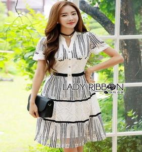 Lady Ribbon Lace Shirt Dress เชิ้ตเดรสผ้าลูกไม้สีขาว