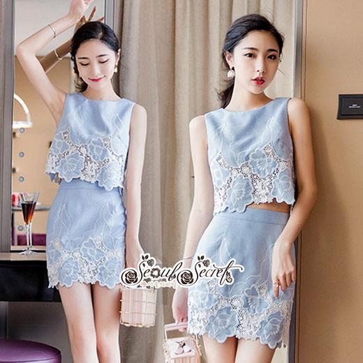 เซทลุคสาวเกาหลีสวยเก๋ดีเทลเสื้อเเขนกุดทรงครอป