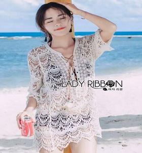 Summer Style White Crochet Dress Lady Ribbon เดรสผ้าถักโครเชต์