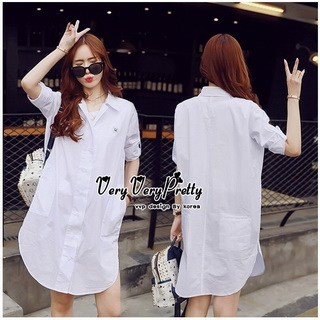 Lady Ribbon Online ขายส่งเสื้อผ้าออนไลน์ Very very pretty VP02030816 Lovely White Cotton Long Shirt Style Korea