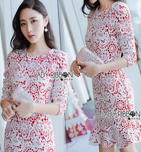 Lady Ribbon Lace and Red Crepe Peplum Dress