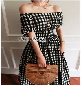 Checked Dress Lady Ribbon ขายเดรสผ้าคอต