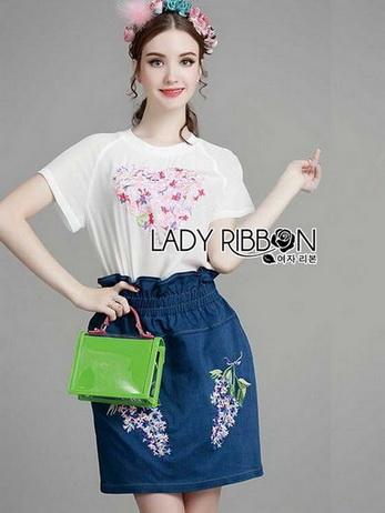 Lady Lizzy Casual Holiday Flower Denim Skirt Set