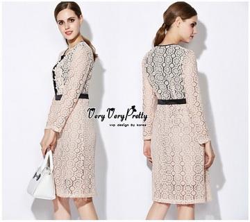 Lady Ribbon Online เสื้อผ้าแฟชั่นออนไลน์ขายส่ง เลดี้ริบบอนของแท้พร้อมส่ง Veryverypreppy เสื้อผ้า VP07240716 Luxury Vintage long-sleeved embroidered Flowers Lace Dress
