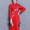ชุดเดรสคอจีนสีแดง