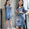 Lady Ribbon Online ขายส่งเสื้อผ้าออนไลน์ Very very pretty เสื้อผ้า VP04100816 Chic Denim Flared sleeves Dress