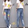ชุดเซทเสื้อยืด+กางเกงยีนส์ทรงเดฟ ผ้ายีนส์ฮ่องกง