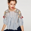 ZARA STRIPED EMBROIDERED TOP WITH POMPOMS