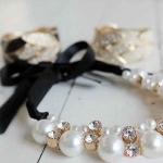 AE1617 - สร้อยคอแฟชั่น,สร้อยคอ,สร้อยแฟชั่น,เครื่องประดับ pearl rhinestone halter-neck dress short black ribbon necklace