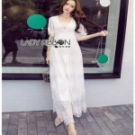 White Lace Maxi Dress Lady Ribbon เดรสยาว