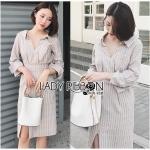 Cotton Shirt Dress Lady Ribbon ขายเชิ้ตเดรส