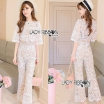 Lady Ribbon Gabriella Ladylike Sweet Nude Lace Jumpsuit