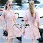 Lady Ribbon ขายส่งเสื้อผ้าออนไลน์พร้อมส่งของแท้ LR20220716 &#x1F380 Lady Ribbon's Made &#x1F380 Lady Anna Sweet Feminine Floral Pink Lace Dress เ