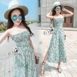 Lady Ribbon Online เสื้อผ้าแฟชั่นออนไลน์ขายส่ง เลดี้ริบบอนของแท้พร้อมส่ง sevy เสื้อผ้า SV07240716 &#x1F389Sevy Stick Stripes Off Shoulder Jumpsuit (+Belt) Type: Jumpsuit