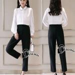 ชุดเซต 2 ชิ้น ชุดเซตแฟชั่นเสื้อ+กางเกง เสื้อแขนยาว คอปก แต่งแถบสีดำที่คอ
