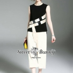 Sweet Bunny Present... Martin Bow Cross Blouse With Wide Pants Set