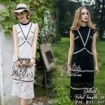 Lady Ribbon Online เสื้อผ้าแฟชั่นออนไลน์ขายส่ง เลดี้ริบบอนของแท้พร้อมส่ง Siter ST18240716 &#x1F340สินค้าพร้อมส่ง&#x1F340 한국에 의해 설계된 2Sister Made, Black & White Beauty Elegant Supreme Flora Lace