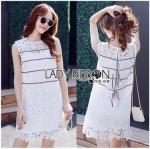 Lady Ribbon Online ขายส่งเสื้อผ้าออนไลน์ ขายส่งของแท้พร้อมส่ง Lady Ribbon LR08250716 &#x1F380 Lady Ribbon's Made &#x1F380 Lady Kate Sporty Sweet White Lace Dress เดรสผ้าลูกไม้