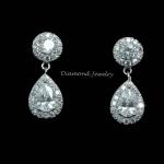 Diamond Earring งานเพชร CZ แท้ งานล้อมเพชรอย่างดี เพชรคัดเกรดสวย ทรงสวย ดีไซส์โมเดิน เกรดจิวรี่ ไม่ลอกไม่ดำ