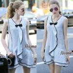 Lady Ribbon Online เสื้อผ้าออนไลน์ขายส่ง Normal Ally เสื้อผ้า NA12150816 &#x1F389Normal Ally Present pastel blue and lace summer dress&#x1F389 (เดรสผ้าสวย , ซับในต่อชายลูกไม้ค่ะ)