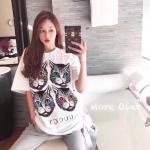 เสื้อแฟชั่นเกาหลี เสื้อยืดแขนสั้นแบรนด์ Gucci ลายหน้าแมว 4ตัว