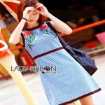 Rose Embroidered Checked Cotton Dress เดรสแขนกุด
