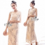 Lady Ribbon Online ขายส่งเสื้อผ้าออนไลน์ เสื้อผ้า Sevy SV04030816 &#x1F389Sevy Golden Grand Diamond Embroidered Lace Curve Body Maxi Dress