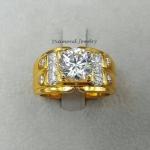 Diamond Ring งานเพชรสวิส เพชรเม็ดกลางขนาด 3 กะรัต ขอบนอกประดับเพชรกลม ชุบ 5 ไมครอน