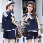 Lady Ribbon Online ขายส่ง เสื้อผ้าออนไลน์ ของแท้ ราคาถูกพร้อมส่ง เลดี้ริบบอน LR10140716 &#x1F380 Lady Ribbon's Made &#x1F380 Lady Charlotte Striped Top with Ripped Tank Top and Shorts