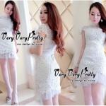 Lady Ribbon Online เสื้อผ้าแฟชั่นออนไลน์ขายส่ง เลดี้ริบบอนของแท้พร้อมส่ง Veryverypreppy เสื้อผ้า VP05240716 Florals White Elegance Korea Dress