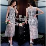 เสื้อผ้าแฟชั่น Maxi Dress แมกซี่เดรสผ้าลูกไม้ see-throughเสื้อผ้าแฟชั่นออนไลน์