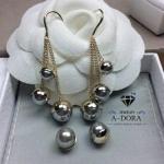 Christsin Dior ต่างหูมุกห้อยระย้าหรูหรา ตัวเรือนทองงานชุบ 18KGP ไม่ลอกไม่ดำ Made in Korea