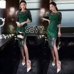 พร้อมส่ง Dress เรียบหรูโทนสีเขียว เนื้อผ้าสวยเกรดดี งานเย็บละเอียด ดีเทล แขนยาว ซิปหลัง