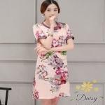 เสื้อผ้าแฟชั่นเกาหลีพร้อมส่งเดรสผ้ายืดโพลี่พิมพ์ลายดอกไม้
