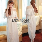 Lady Ribbon Online ขายส่งเสื้อผ้าออนไลน์ Lady Ribbon พร้อมส่ง LR08040816 &#x1F380 Lady Ribbon's Made &#x1F380 Lady Floral Embroidered and Laser-Cut Off-Shoulder Maxi Dress