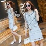 Lady Ribbon Online เสื้อผ้าแฟชั่นออนไลน์ขายส่ง เลดี้ริบบอนของแท้พร้อมส่ง Sevy เสื้อผ้า SV17240716 BEST SELLER-Restock &#x1F389Sevy Matel Hallow Light Blue Mini Denim Dress