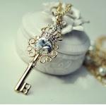 F636 - สร้อยคอแฟชั่น,สร้อยคอ,สร้อยแฟชั่น,เครื่องประดับ key pearl necklace zircon diamond pearl sweater chain