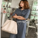 Sara Denim Shirt Lady Ribbon Dress เชิ้ตเดรส